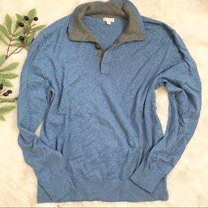 Gap Blue Cotton Quarter Buttoned Pullover Sweater